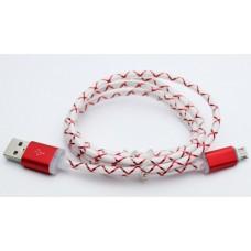 USB-microUSB кабель 726 толстый шнур с рисунком, светящийся