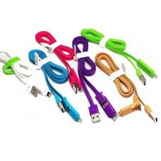 USB-microUSB/lightning кабель 906 плоский трансформер