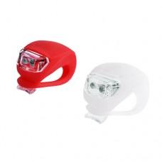 Фонарь велосипедный HJ 008-2 (красн.+бел.) силикон