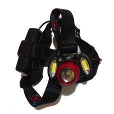 Фонарь на лоб 150C-3117-T6-2COB сенсорный, 2 аккум., zoom, USB зарядка