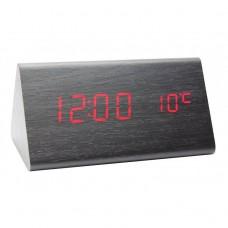 Часы деревянный брусок 861-1 красные +термометр, календарь
