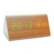 Часы деревянный брусок 861-4 салатовые +термометр, календарь