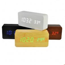 Часы деревянный брусок 862-5 синие +термометр, календарь