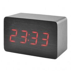 Часы деревянный брусок 863-1 красные +термометр, календарь