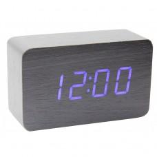 Часы деревянный брусок 863-5 синие +термометр, календарь