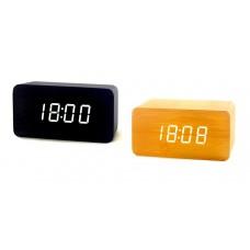 Часы деревянный брусок 863-6 белые +термометр, календарь