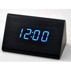 Часы деревянный брусок 864-5 голубые +термометр, календарь