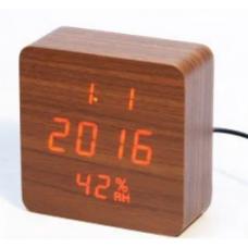 Часы деревянный брусок 872-1 красные +термометр, календарь