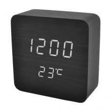 Часы деревянный брусок 872-6 белые +термометр, календарь
