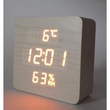 Часы деревянный брусок 872S-3 оранжевые +термометр, календарь, гигрометр