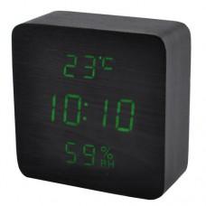 Часы деревянный брусок 872S-4 зеленые +термометр, календарь