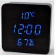 Часы деревянный брусок 872S-5 голубые +термометр, календарь, гигрометр