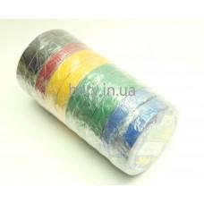 Изолента ПВХ разн. цвета 0,13х19мм, 10м, 10шт.