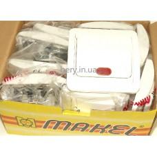 Выключатель Makel одинарный, 10А 250В с подсветкой