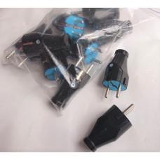 Вилка электрическая латунная Евро Svittex 03, 16А прямая черная