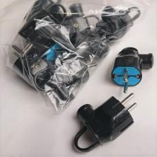 Вилка электрическая латунная Евро Svittex 01 угловая с ручкой, 16А (черная)