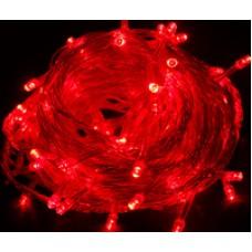 Гирлянда 100LED красная, белый шнур